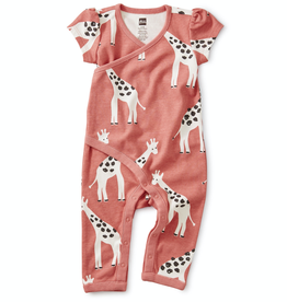 Tea Collection Wrap Romper in Giraffes for Baby Girl