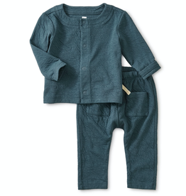 Tea Collection Match Made Teal Crinkle Outfit for Baby Boy