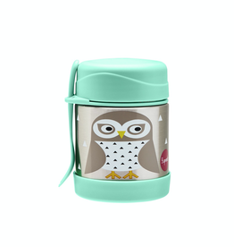 3 Sprouts Stainless Steel Food Jar, Owl/Mint