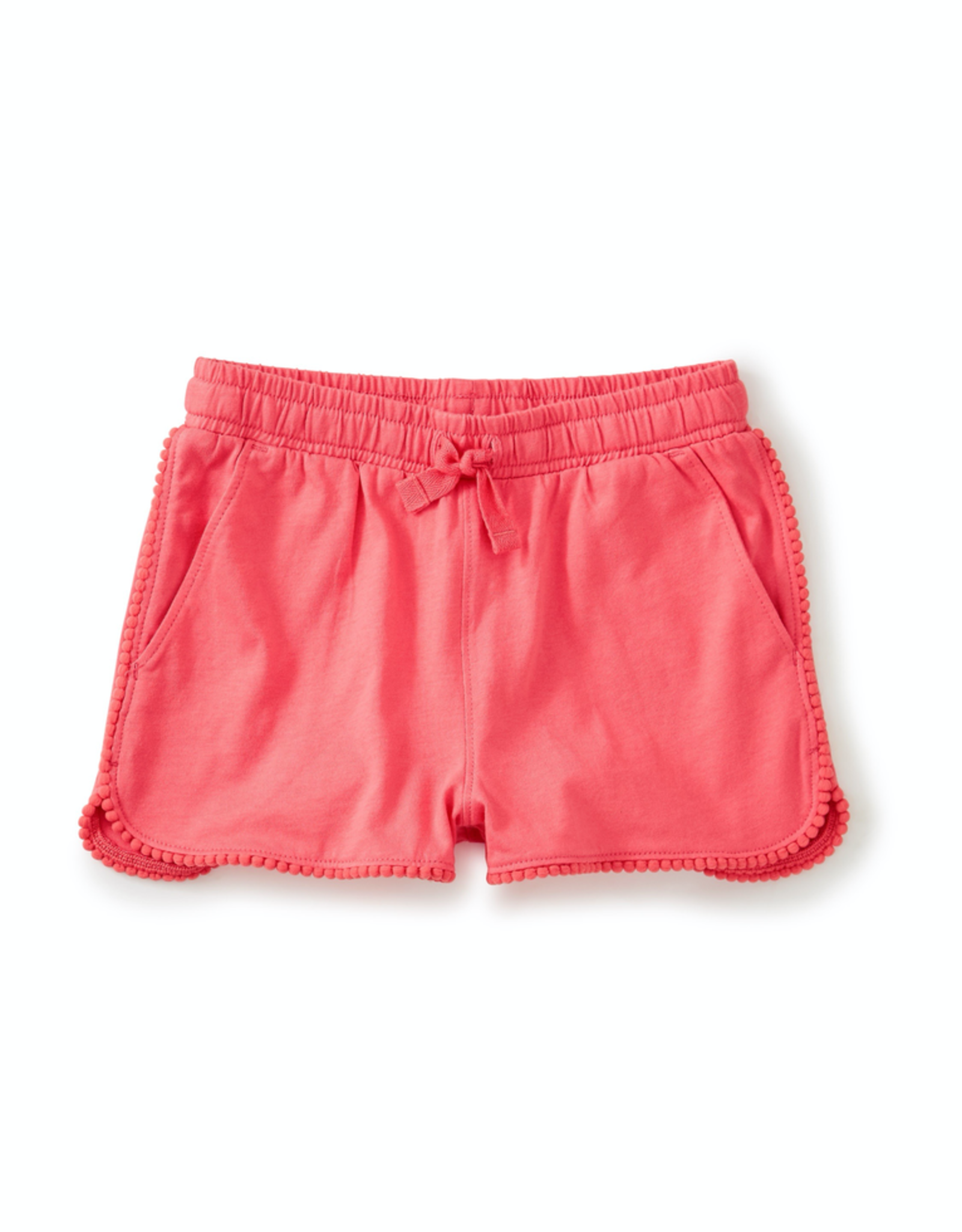 Tea Collection Pom Pom Trim Shorts for Girl in Flat Neon Rosa
