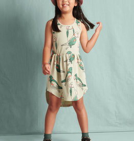 Tea Collection Skirted Tank Dress for Girl in Parakeets - Desert Sage