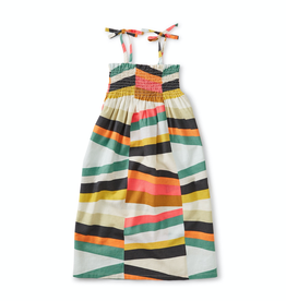 Tea Collection Tie Shoulder Midi Dress for Girl in Rug Chevron
