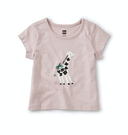 Tea Collection Giraffe & Baboon BFF Tee for Baby Girl in Orchid Haze