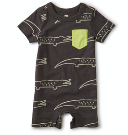 Tea Collection Printed Pocket Romper for Baby Boy in Crocodiles