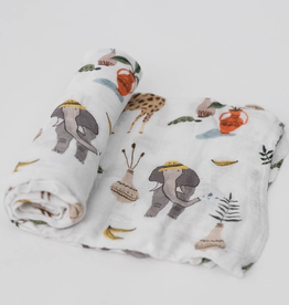 Little Unicorn Safari Social, Single Cotton Muslin Swaddle