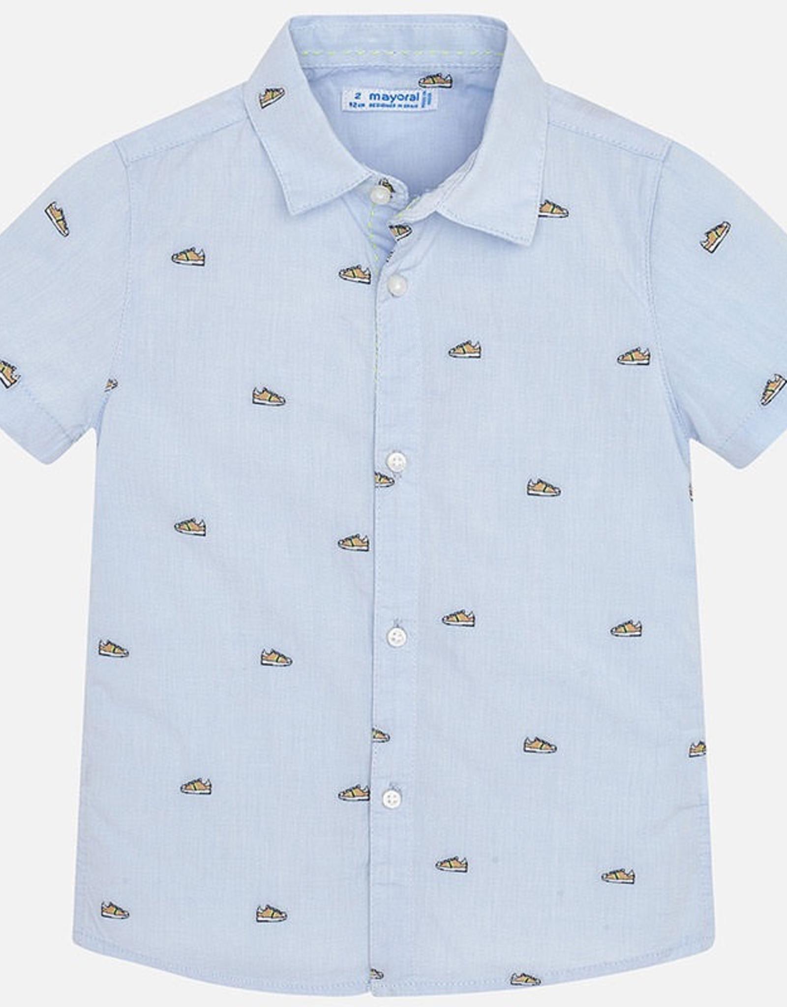 Mayoral Sneaker Print Button Down Short Sleeved Shirt boy
