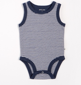 Navy Striped Tank Onesie with Organic Cotton