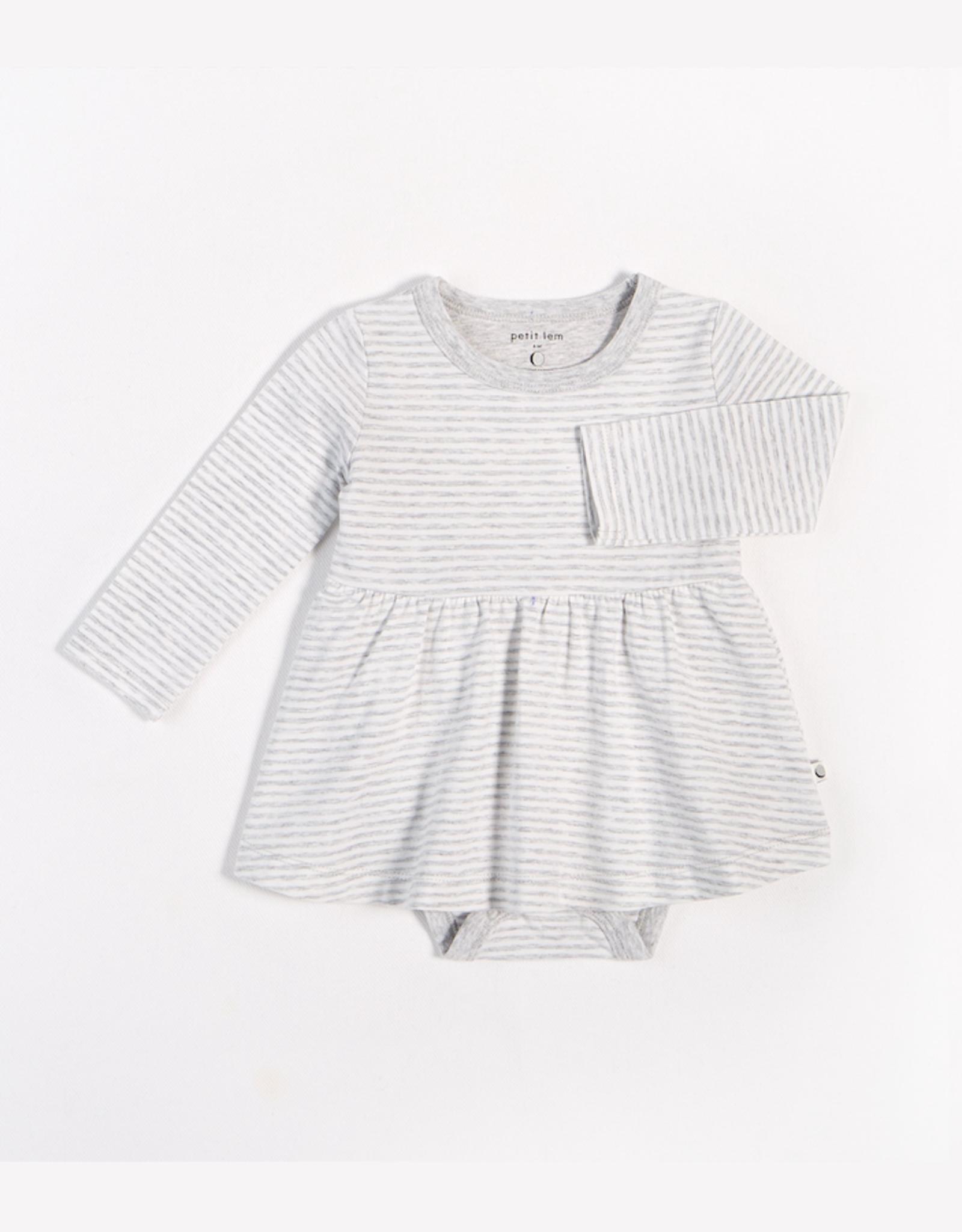 Grey Striped Long-Sleeve Peplum Onesie with Organic Cotton