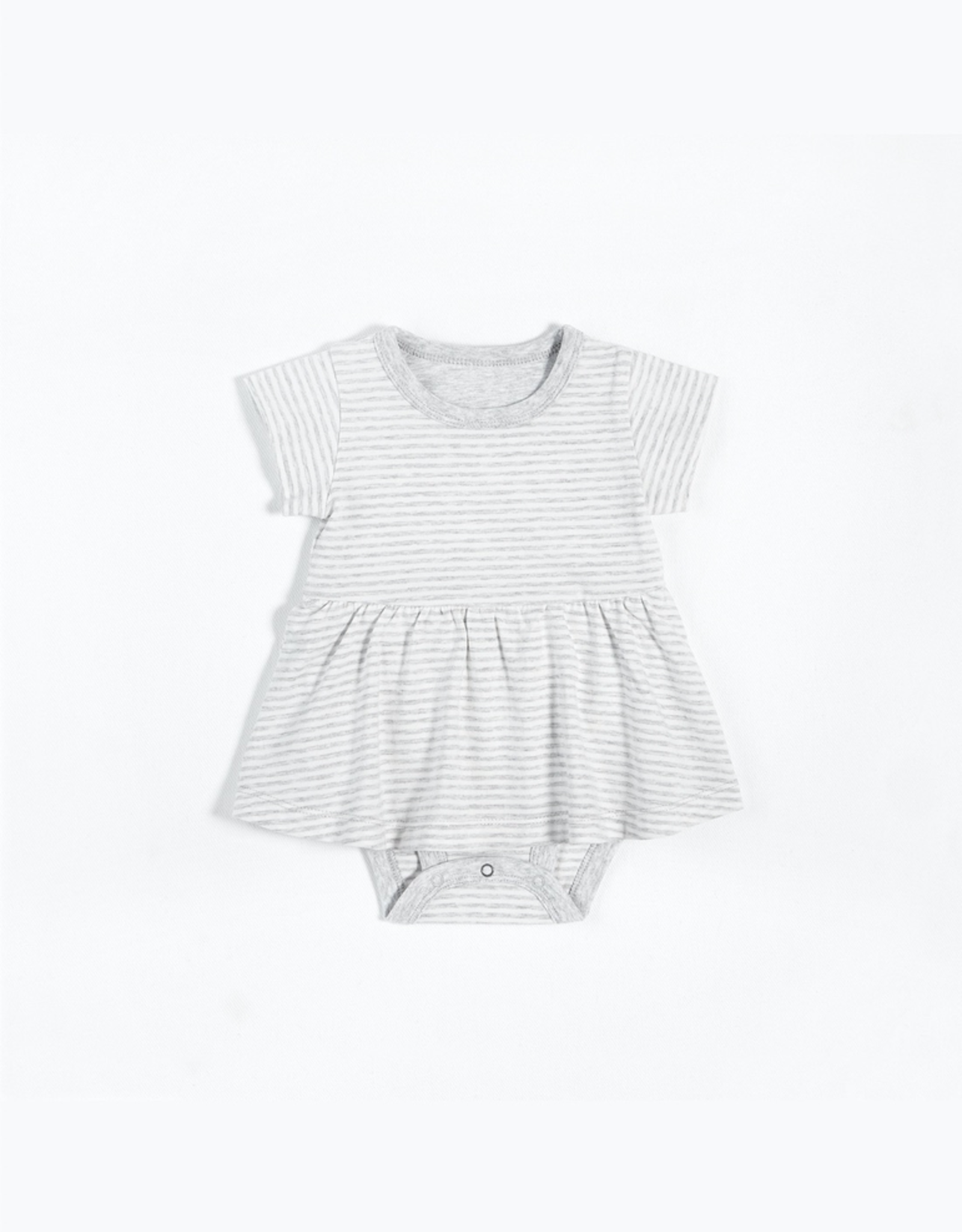Grey Striped Peplum Onesie with Organic Cotton