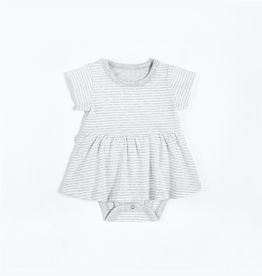 Grey Striped Peplum Onesie with Organic Cotton
