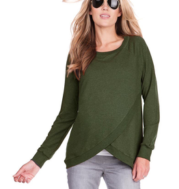 Seraphine Sybil Crossover Maternity & Nursing Sweater In Olive Green