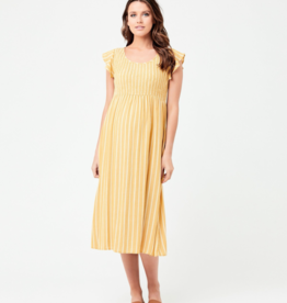 Ripe Maternity Sofia Shirred Dress in Mustard & White