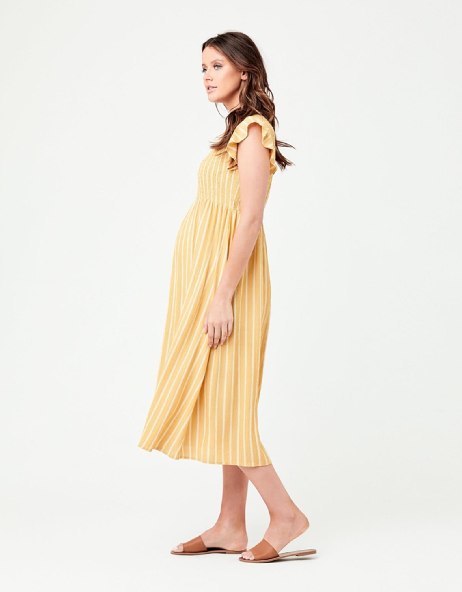 Ripe Maternity Sofia Shirred Dress in Mustard & White