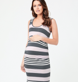 Ripe Maternity Stripe Nursing Dress Lilac / Steel / White