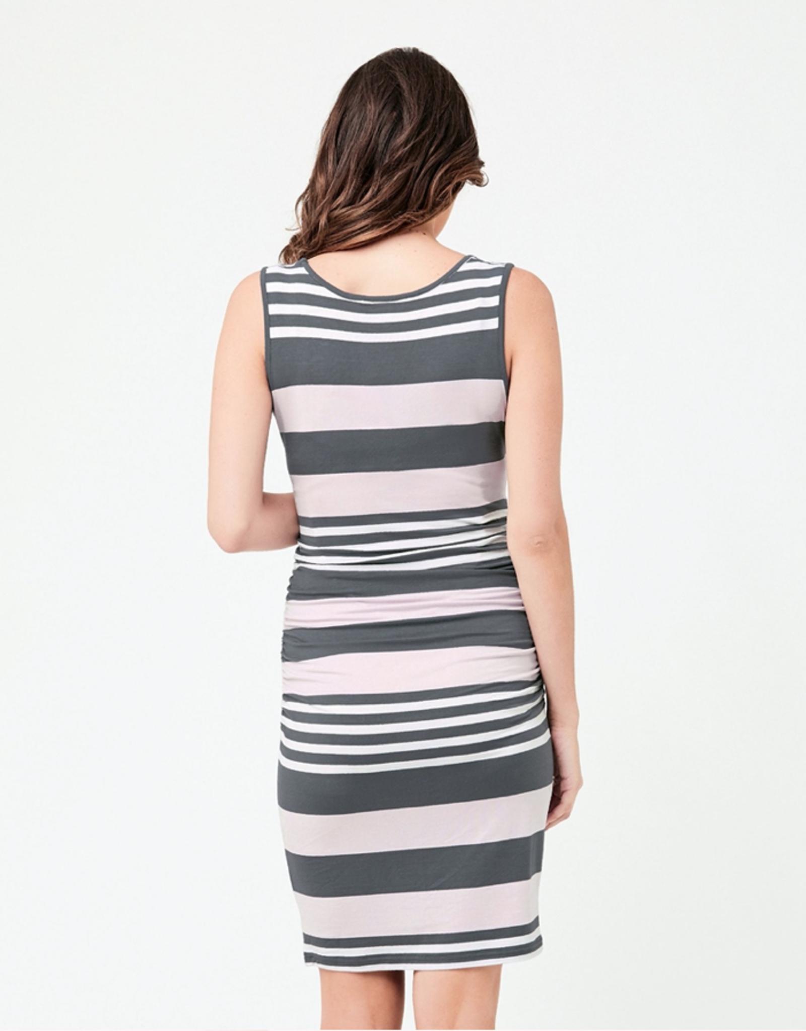 Ripe Maternity Stripe Nursing Dress Lilac / Steel / White