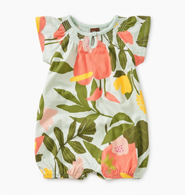 Tea Collection Tropical Garden Printed Smocked Romper for Baby Girl