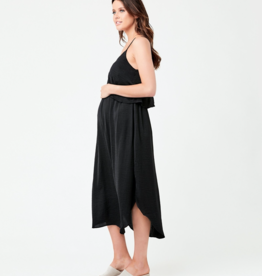 Ripe Maternity Nursing Slip Dress in Black