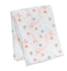 Lulujo Kitty Swaddling Blanket