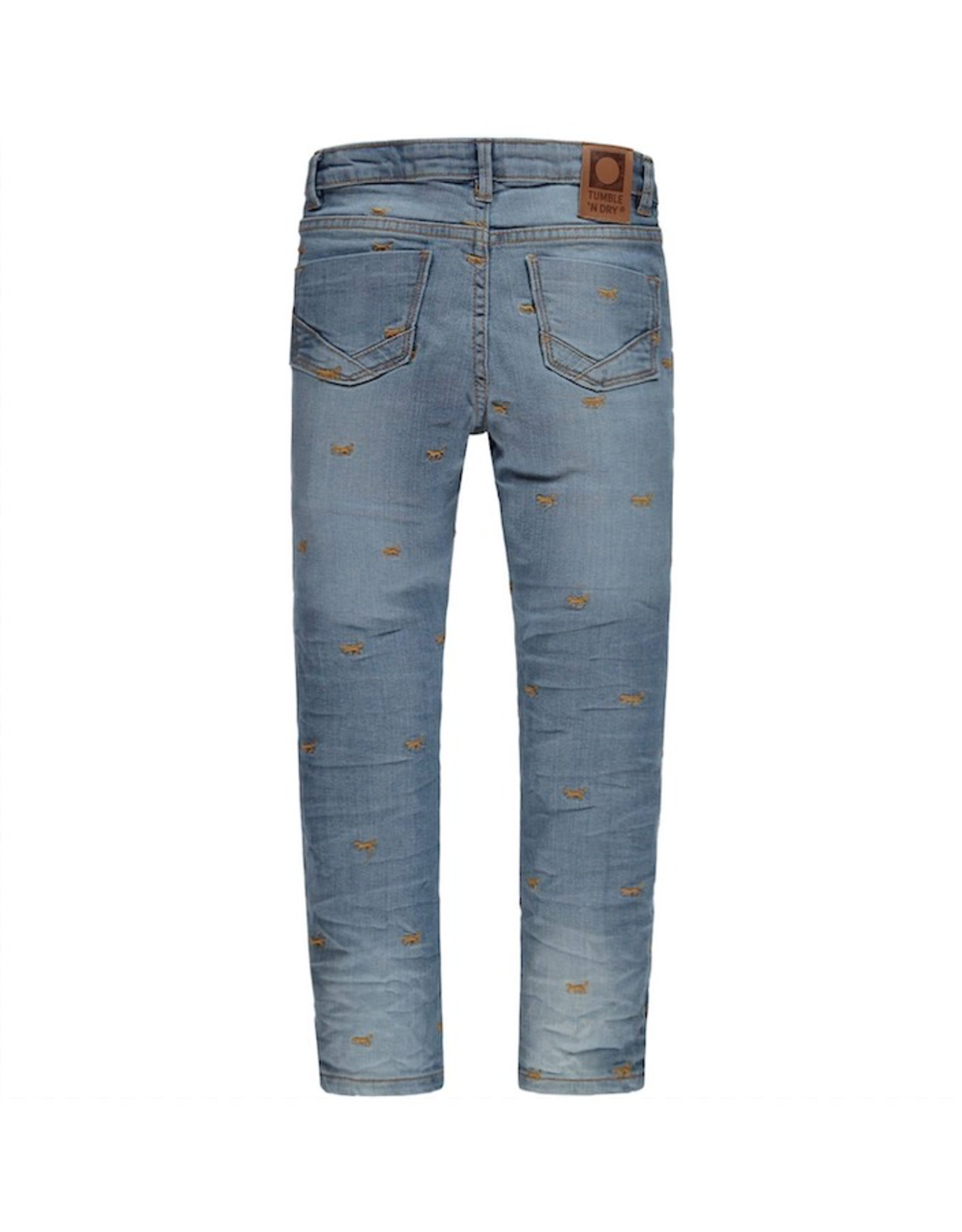 Pearl Skinny Denim with Lion Embroidery