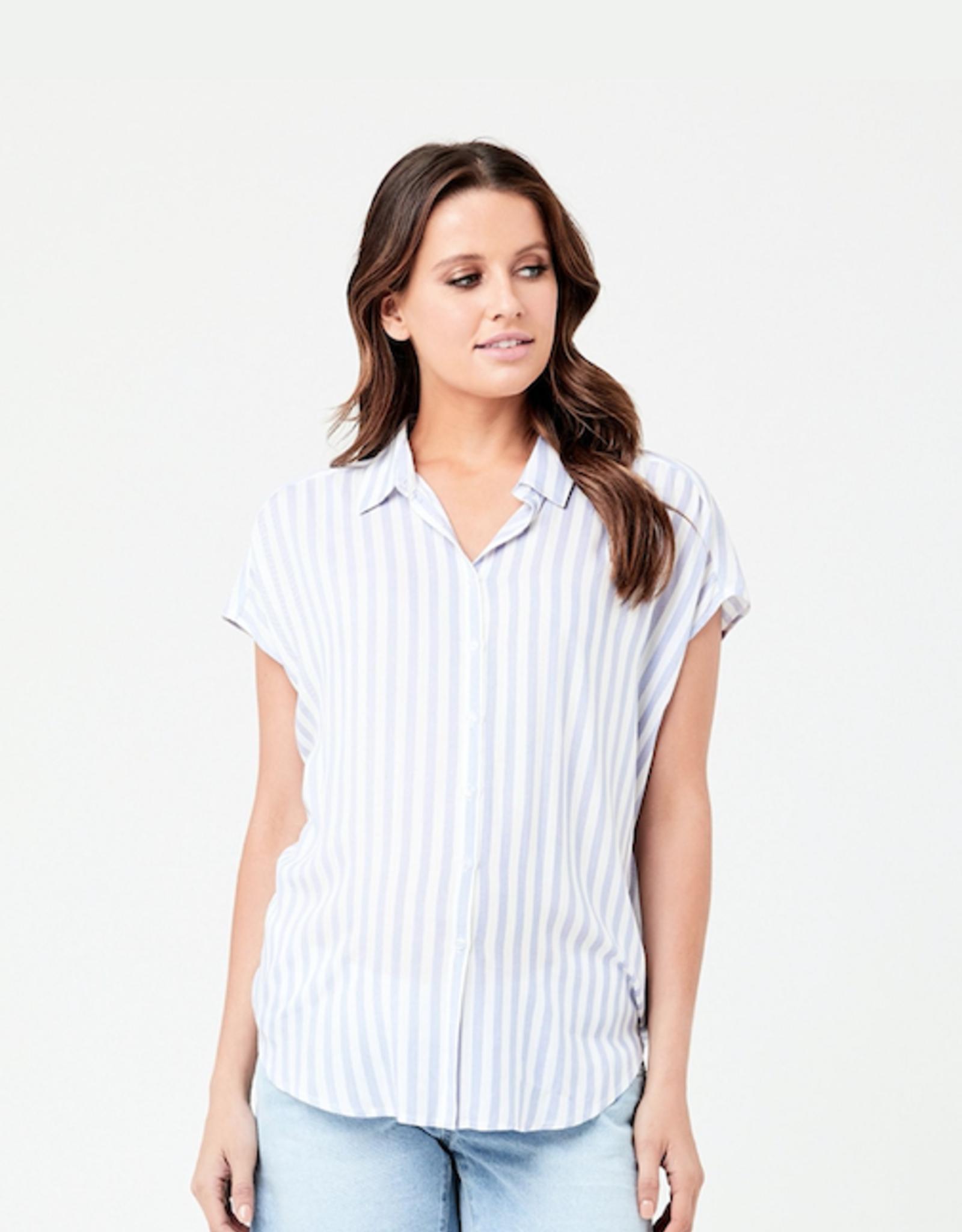 Ripe Maternity Quinn Relaxed Shirt in Blue/White