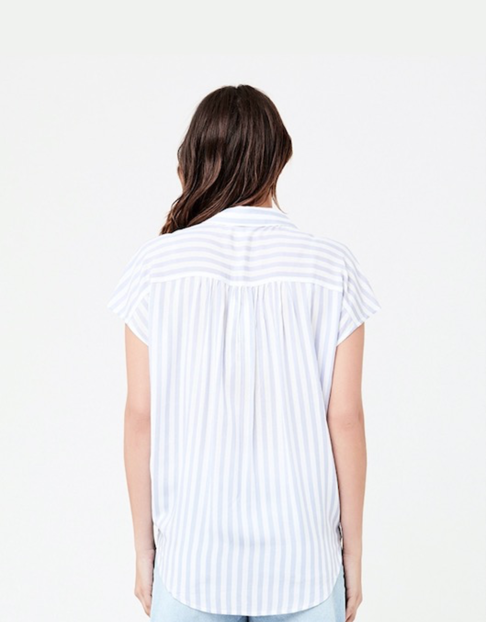 Ripe Maternity Quinn Relaxed Shirt in Blue/White