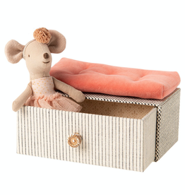 Maileg Little Sister Dancing Mouse in a Daybed