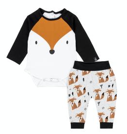 Deux Par Deux Fox Body Suit & Printed Pant Set