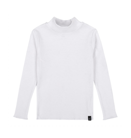 Deux Par Deux Ribbed Turtle Neck Top in White