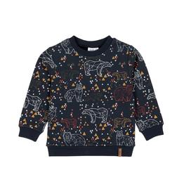 Deux Par Deux Geometric Animal Print French Terry Sweatshirt in Navy Blue