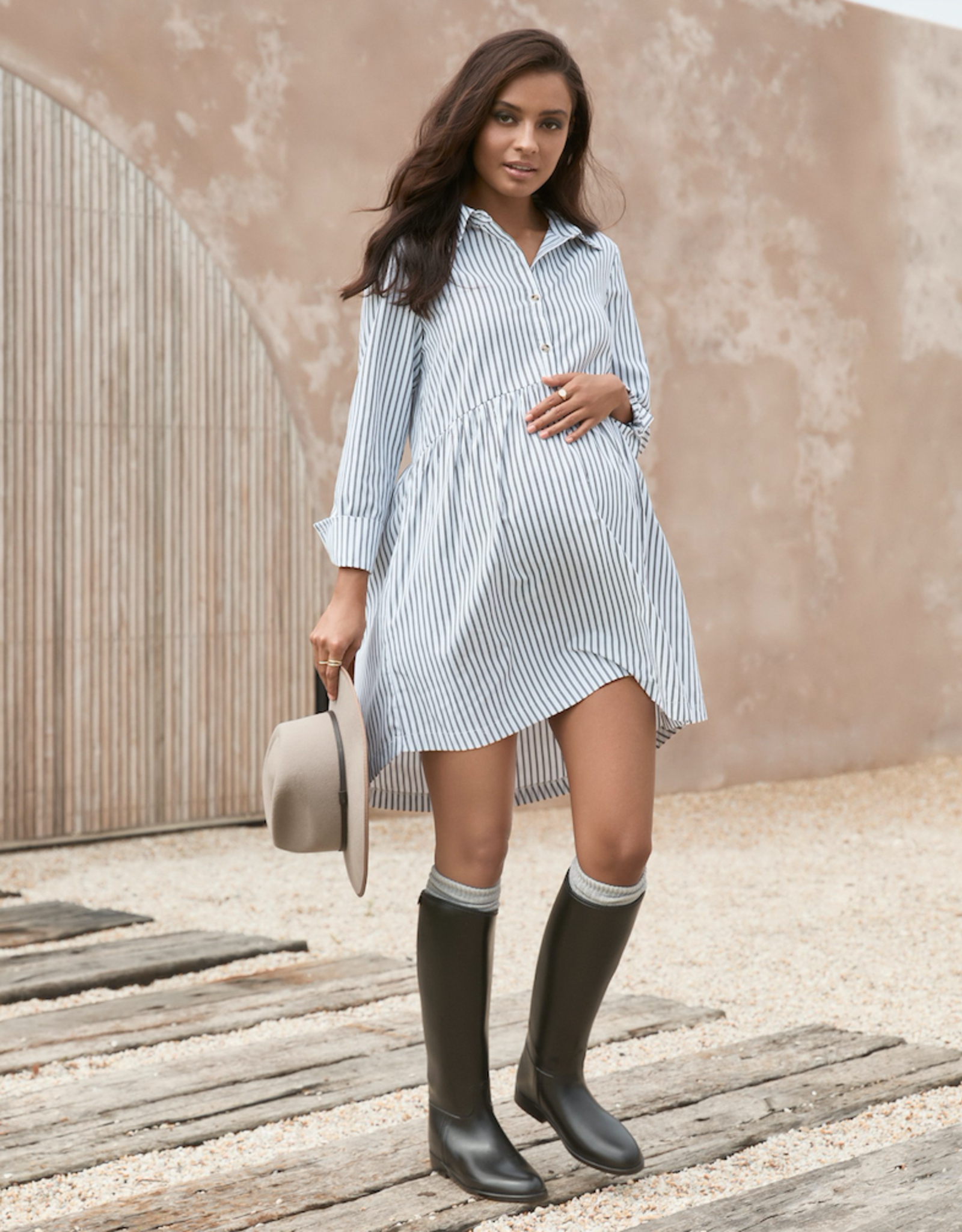 Legoe Heritage Sienna Shirtdress in Black Stripe