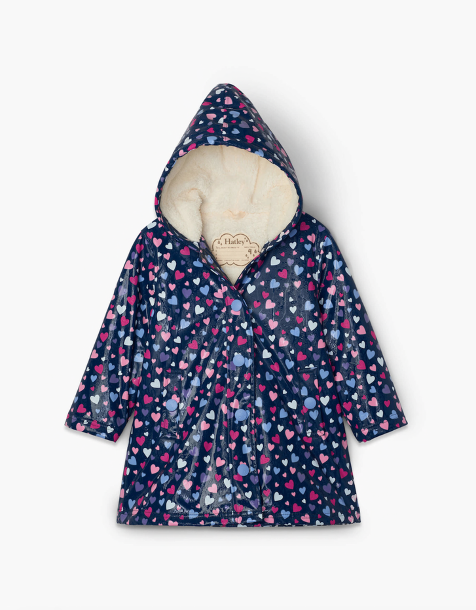 Hatley Confetti Hearts Sherpa Lined Colour Changing Splash Jacket