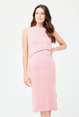 Ripe Maternity Layered Knit Nursing Dress in Pink