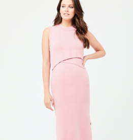 Ripe Maternity Layered Knit Nursing Dress in Pink