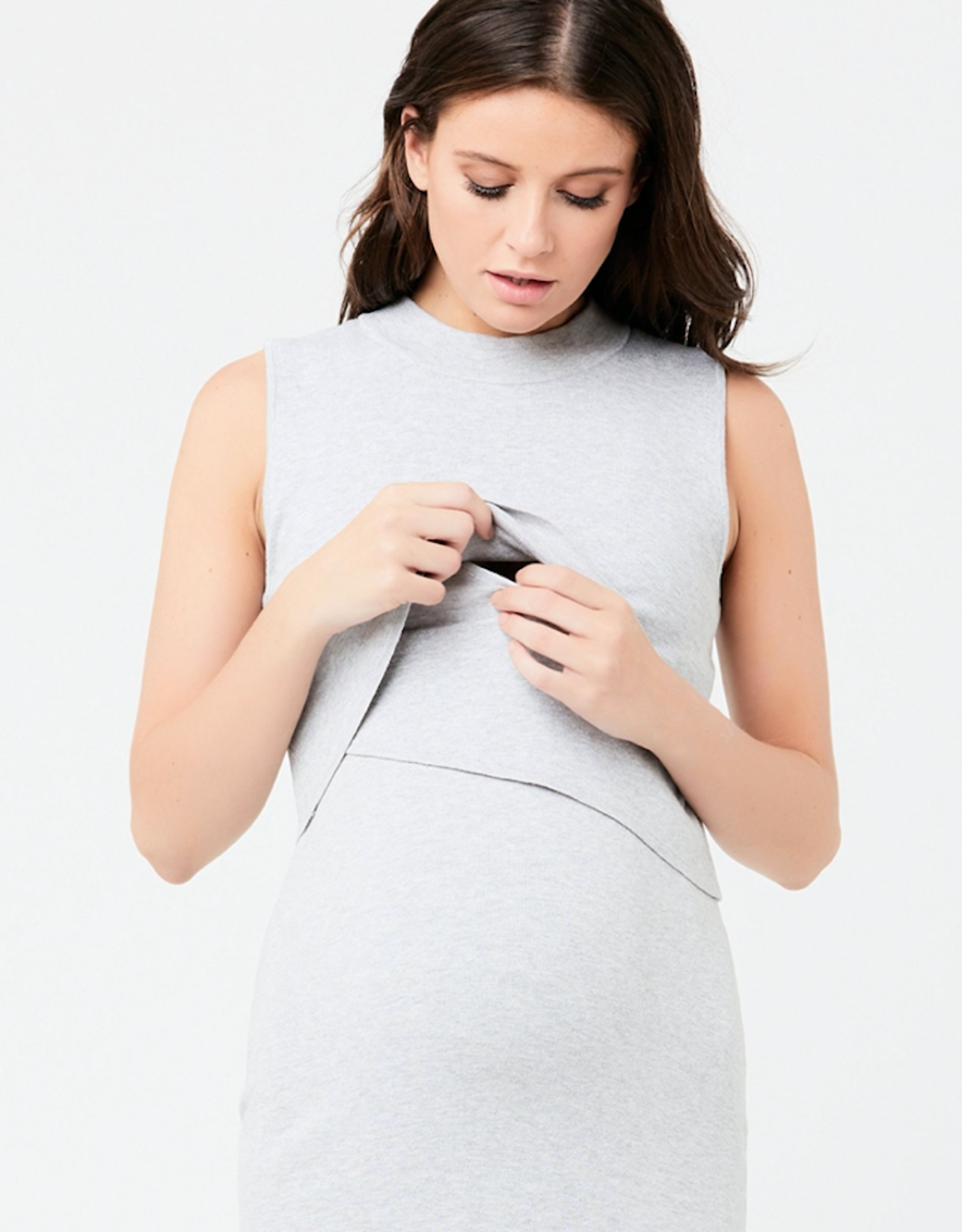 Ripe Maternity Layered Knit Nursing Dress in Silver Marle