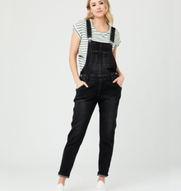 Ripe Maternity Black Denim Short Overalls