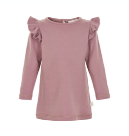 Creamie Long Sleeve Ruffle T-Shirt in Twilight Mauv