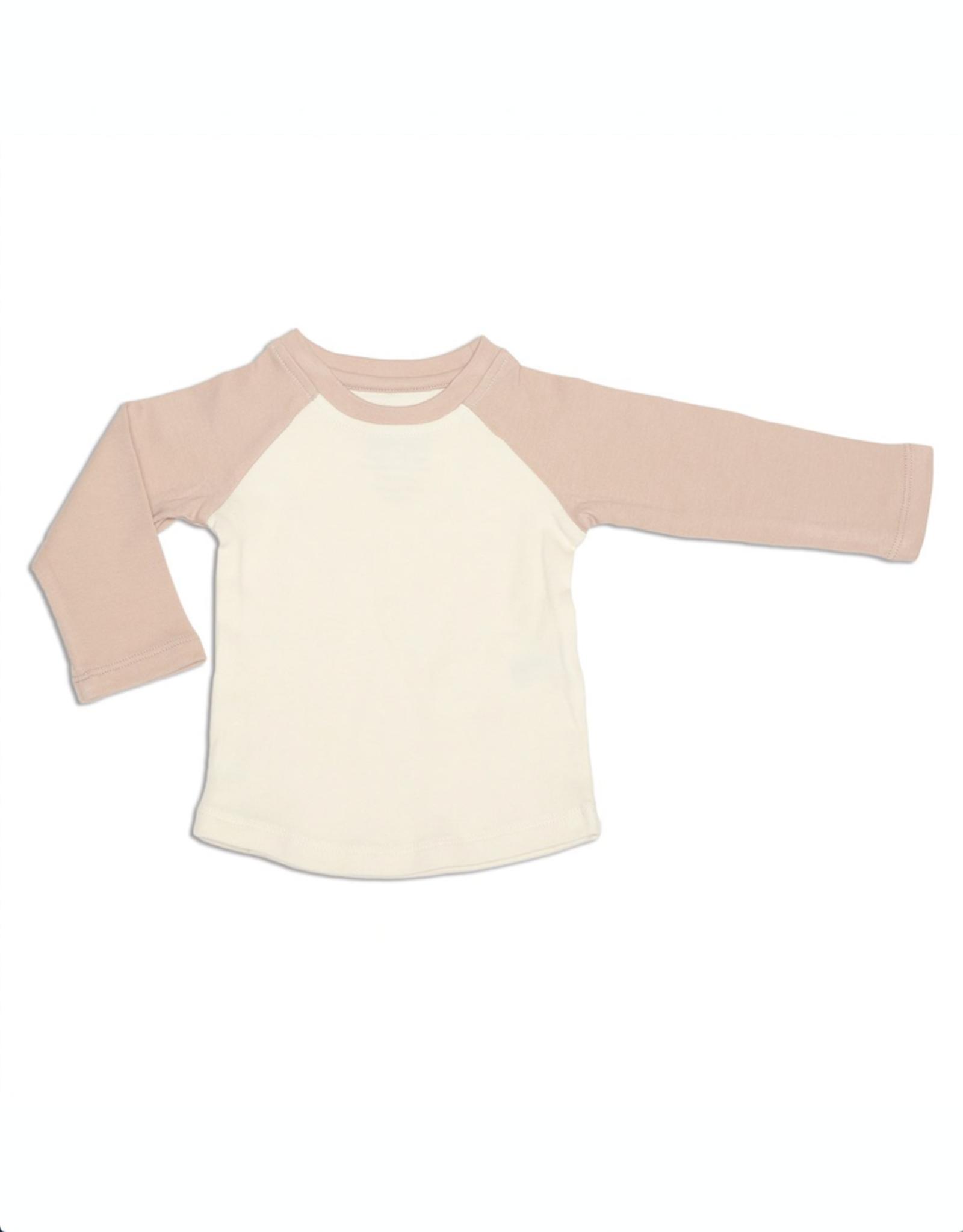 Silkberry Baby Silkberry Baby, Organic Cotton Baseball Tee, Papyrus/Rose Dust