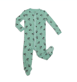 Silkberry Baby Silkberry Baby, Bamboo Fleece Zip-up Footed Sleeper, Roller Booties Print