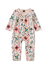 Tea Collection Shirred Henley Romper for Baby Girl