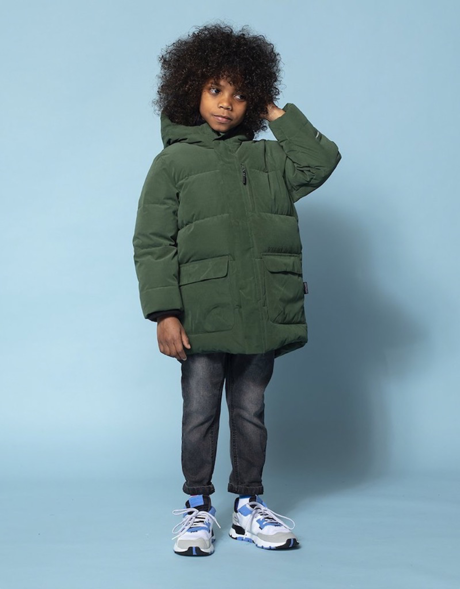 Go Soaky Tiger Eye Unisex Puffer Jacket In Green Forest