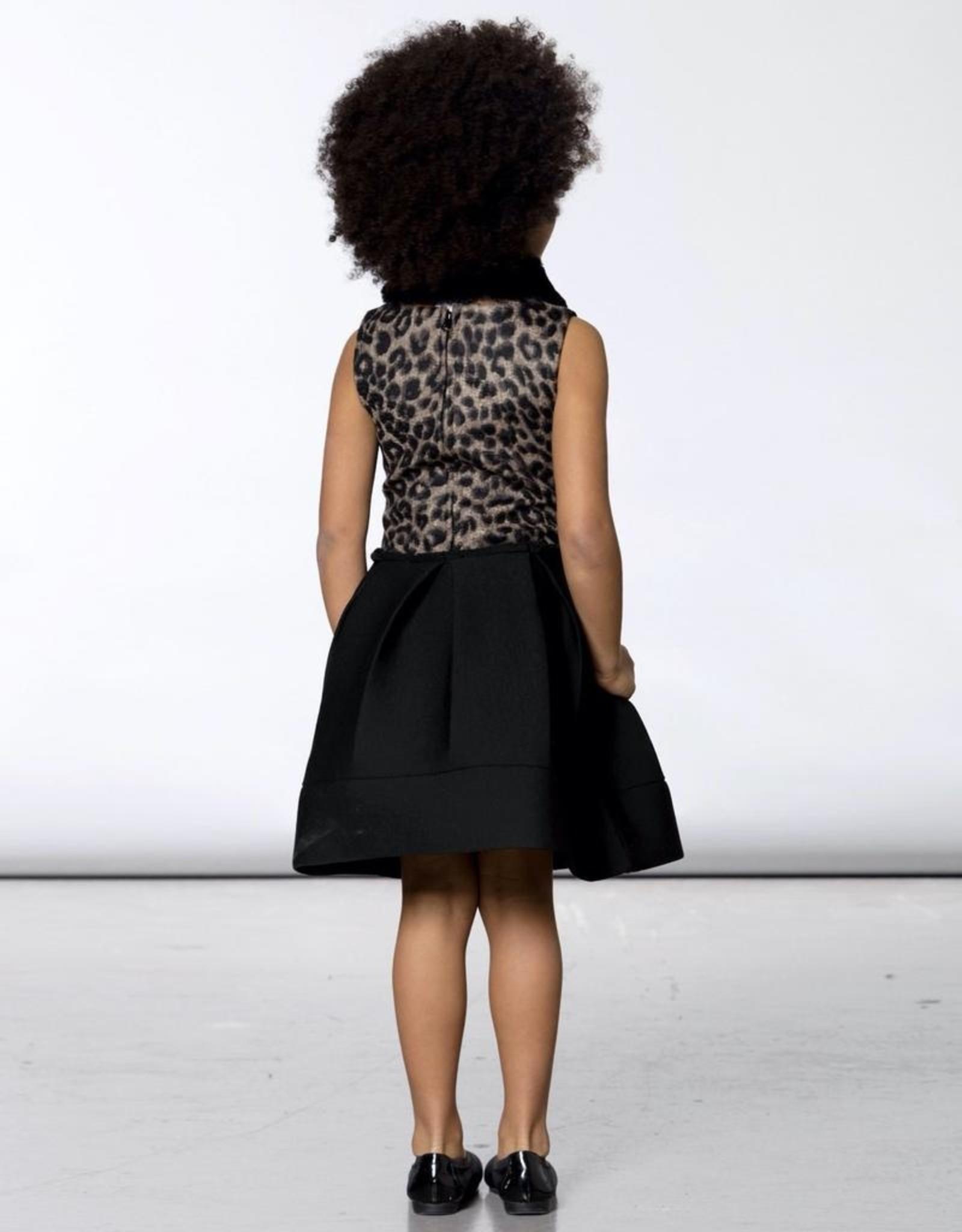 Deux Par Deux Neoprene Dress With Leopard Pattern & Collar Set