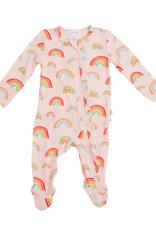 Angel Dear Pink Rainbow Front Zip Romper