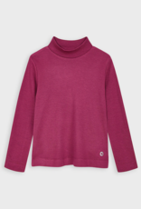Mayoral Mock Turtleneck Ribbed T-shirt In Cherry