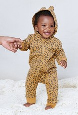Tea Collection Jungle Jaguar French Terry Hooded Zip Romper