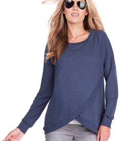 Seraphine Sybil Crossover Maternity & Nursing Sweater Blue Marl