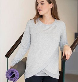 Seraphine Sybil Crossover Maternity & Nursing Sweater Blue Marl