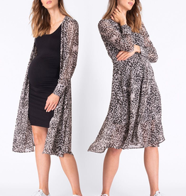 Seraphine Indira Animal Print Midi Maternity Dress