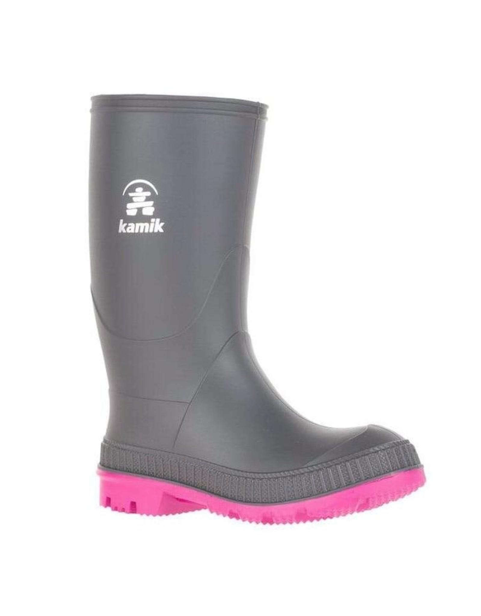 Kamik STOMP Junior Rain Boot, Charcoal/Magenta