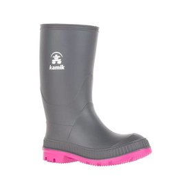 Kamik STOMP Junior Rain Boot, Charcoal/Magenta