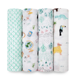 "Aden + Anais Around the World 47"" classic swaddle set 4-pack"